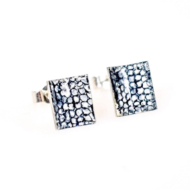 Emily Higham's Blue Square Curved Studs