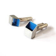 Blue & Silver Tube Cufflinks