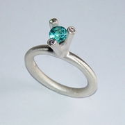 3 Branch Bough ring with blue topaz & diamonds