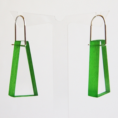 bright green block earrings 01
