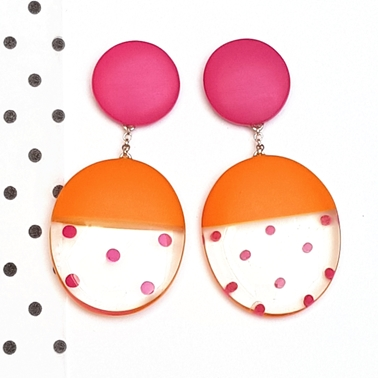 mismatch ovals - orange and cerise spotty