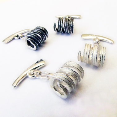 Twisted Leaf Cufflinks, Polished or Oxidised