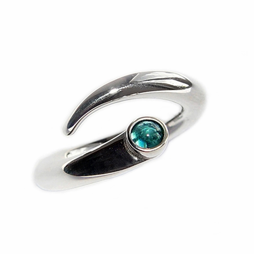 Curving Wiggly Ring with Blue Topaz