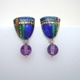 Tartan Inspired Drop Earrings with Amethyst bead