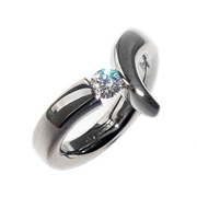 Wiggly Tension Set Diamond Ring
