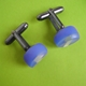 blue round cufflinks side view