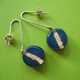 navy round drop earrings