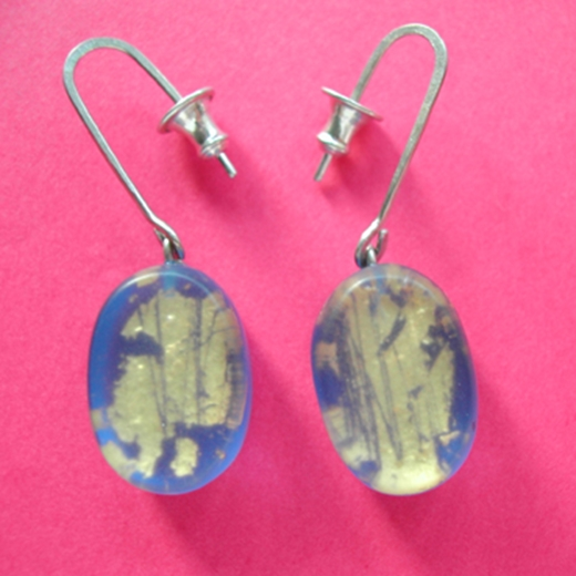 blue oval drop earrings with gold leaf layer