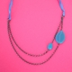 blue petal double chain necklace with ribbon tie