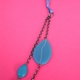 blue petal double chain necklace with ribbon tie detail