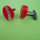 red oval cufflinks side view