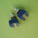 navy and gold leaf mini cube earrings side view