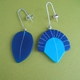 dark blue and turquoise odd drop earrings