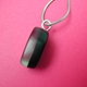 black and aluminium leaf oval pendant side view