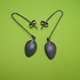dark grey petal drop earrings