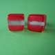 red and aluminium leaf mini cube studs