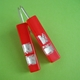 red oblong earrings