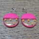mini round resin earrings-cerise with orange spots