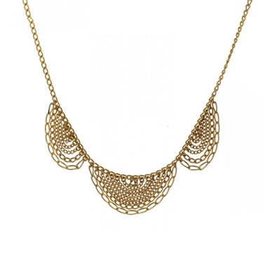 listing lace brass scallop gold geometric collar il vintage necklace