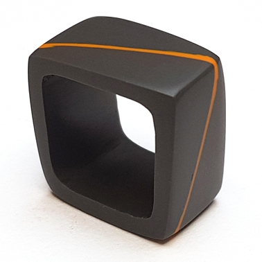 square ring - charcoal with orange diagonal stripe