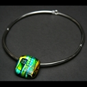 Square Pebble Torque Choker in Green Turquoise