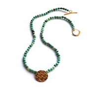Chrysoprase Beads & Interlaced Pendant Necklace
