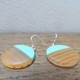 Turquoise mini round earrings with orange stripes