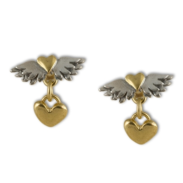 Classic Winged Heart & Heart Drop Earrings