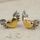 Chubby winged heart stud earrings