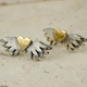 Classic winged heart stud earrings