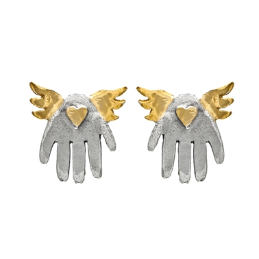 Winged Hand Earrings