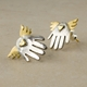 Winged hand stud earrings