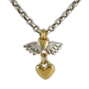 Classic Winged Heart & Heart Drop Necklace