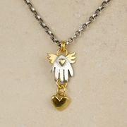 Winged hand necklace