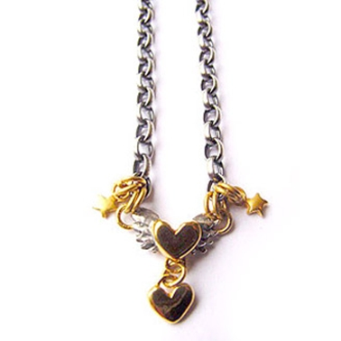 Winged heart & tiny star necklace
