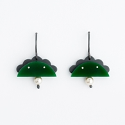 Small Cloud Arch Earring - Green