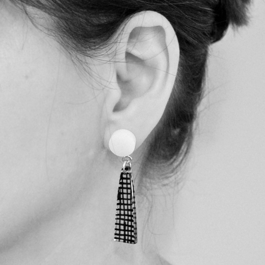 spot colour earrings worn