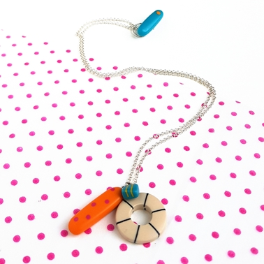 clash pendant - orange, nude and deep turquoise