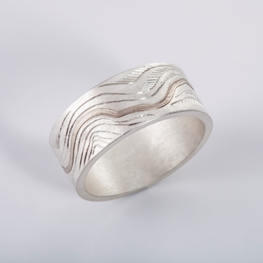 Contours Ring Silver and 18ct white gold - By Clara Breen