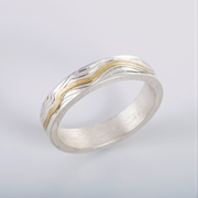 Contours Ring Silver and 18ct yellow gold - By Clara Breen