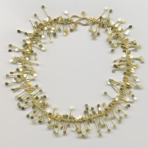 Chaos wire necklace, gold satin