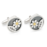 daisy and leaf cufflinks