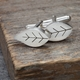 Pierced Silver Leaf Cufflinks