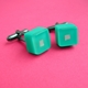 bright turquoise cube cufflinks