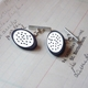 Holey oval & Grey oval cufflinks