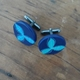 Navy and turquoise cufflinks