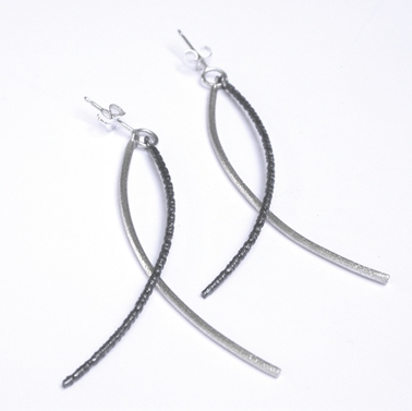 Duotex Curved Dangly Earrings