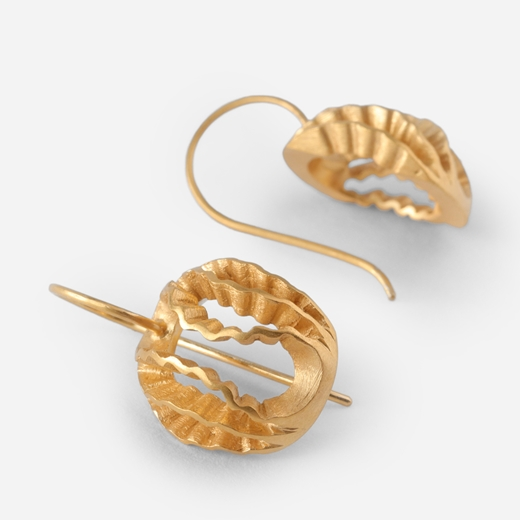 Dainty Strata earrings- Gold-plated silver, side view by Clara Breen
