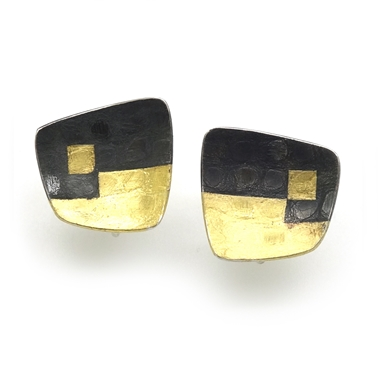 Black Damask Studs for non-pierced ears