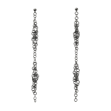 Darrow long double cluster earrings oxidised